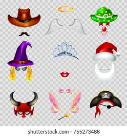 Video chat faces funny mask effect template icons for selfie filters. Vector flat isolated set of cowboy mustaches, angel wings and clown hat, pirate or witch lips and princess crown and Santa Claus
