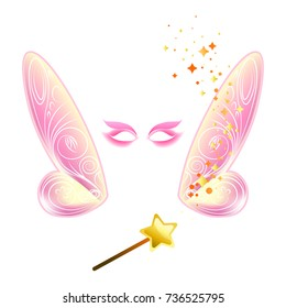 Video chat fairy wings face selfie effect photo mask vector icon template
