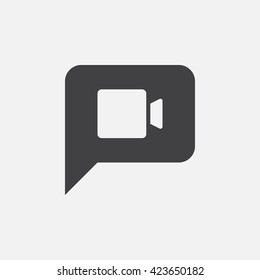 video chat icon vector, solid logo illustration, pictogram isolated on white