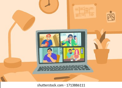 Video chat online. Internet communication during quarantine. Laptop and home workspace. Hand drawn vector illustration in flat style. Social-distance during coronavirus COVID-19.