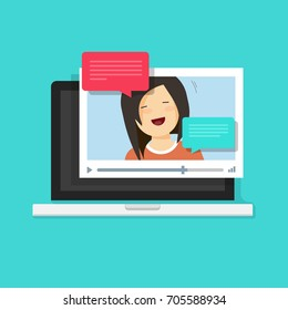 Video chatting online on computer vector illustration, flat cartoon video player window with speaking happy girl and bubble speeches messages on laptop, concept of on-line chat app, internet talk call