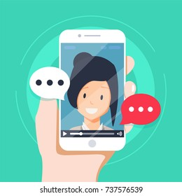 Video chatting online on smartphone vector illustration, flat cartoon video player window with speaking happy girl and bubble speeches messages on phone concept of on-line chat app, internet talk call