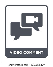 video comment icon vector on white background, video comment trendy filled icons from Ultimate glyphicons collection, video comment simple element illustration