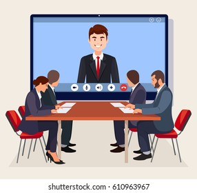 Video conference. Business meeting, consultation, seminar, online training concept. Businessmen in board room, boss speaking from digital flat screen isolated on background. Vector illustration