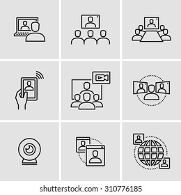 Video conference call communication vector icons