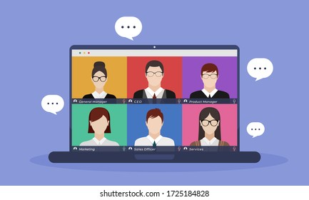 video conference concept illustration. people online meeting work form home. Vector flat design illustrate.