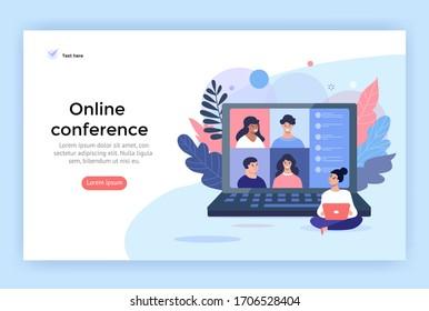 Illustration des Videokonferenzkonzepts. Junge Frauen mit Computer für ein Online-Treffen mit Freunden. Landing Page Design