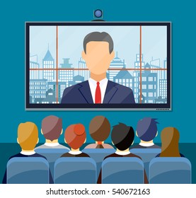Video conference concept. Room with chairs and crowd, big digital screen. Director communicates with staff . Online meeting, video call, webinar or training. Vector illustration in flat style