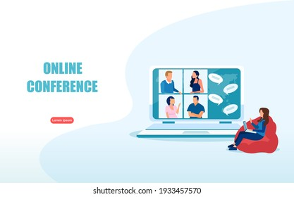 Video conference concept. Vector of a  woman using computer for an online meeting with friends.