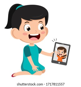 Video Conference. Cute little Kid using tablet for video call with friend. Children happy smile using internet technology for talking. girl face on screen. Vector cartoon illustration for call.