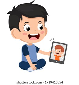 Video Conference. Cute little Kid using tablet for video call with friend. Children happy smile using internet technology for talking ฺ Boy face on screen. Vector cartoon kid illustration for call.