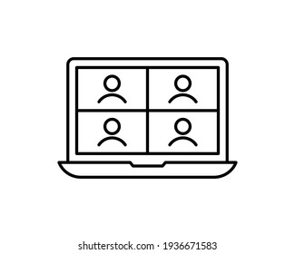 Video conference icon. People on computer screen. Home office in quarantine times. Digital communication. Internet teaching media