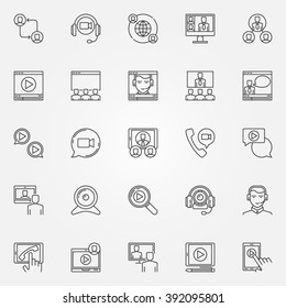 Video conference icons set - vector thin line business online meeting signs. Web conference pictograms