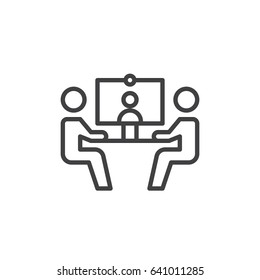 Video conference line icon, outline vector sign, linear style pictogram isolated on white. Symbol, logo illustration. Editable stroke. Pixel perfect