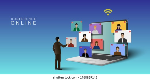 Video conference meeting online concept. Leader meeting online with employees on  computer laptop.Vector illustrate. - Shutterstock ID 1760929145