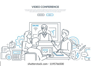 Video conference - modern line design style banner on white background with copy space for text. Male, female business colleagues discussing the project with a distance partner via telecommunication