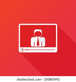 video conference, online meeting. Vector illustration flat design with long shadow