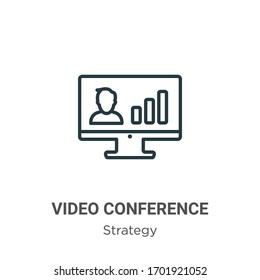 Video conference outline vector icon. Thin line black video conference icon, flat vector simple element illustration from editable strategy concept isolated stroke on white background