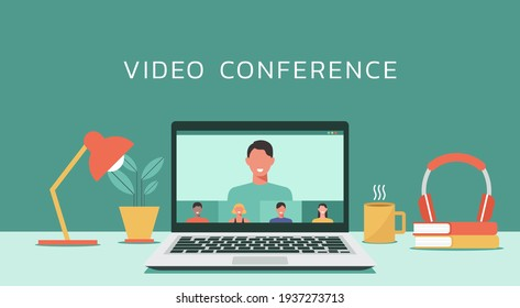 video conference with people connecting together, learning and meeting online via teleconference or remote working on laptop computer, work from home and anywhere, flat design vector illustration