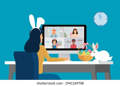Video conference with people group on a computer at home, meeting online. Friends talking on video and celebrating Easter holiday. New normal and covid-19 concept. Flat design vector illustration
