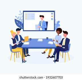 Video conference theme and multiracial business team in online call. Flat cartoon vector illustration with fictional characters