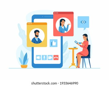 Video conferencing application. Woman drinks coffee in a cafe and communicates via video connection with colleagues using a mobile app. A man and a woman in different windows on the smartphone screen