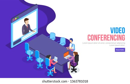 Video Conferencing concept, responsive landing page design. modern flat design with business people in a meeting room discussing any topic.