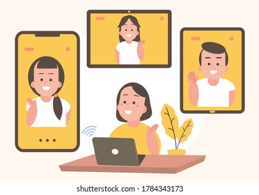Video conferencing of family meetings With various communication devices - Vector illustration