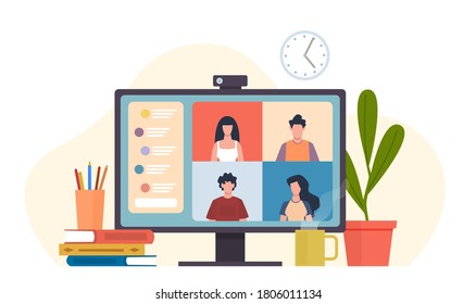 Video conferencing. Virtual meeting, desktop computer with colleagues group office teamwork, e-learning chat or friends meet, software for online communication remote work vector flat cartoon concept