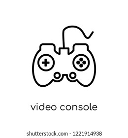 video console icon. Trendy modern flat linear vector video console icon on white background from thin line Entertainment collection, outline vector illustration