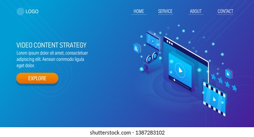 video content development, Video marketing strategy, Digital content,  3D, isometric vector concept with icons and texts
