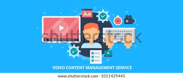 Video content management, Video marketing service, Online video flat vector concept with icons