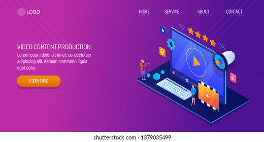 Video content, Video production, Digital video marketing, 3D, isometric vector banner with icons and texts