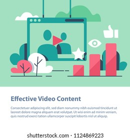 Video content, vlog concept,  production and promotion, entertainment online channel, watching films, top chart, more likes and views, vector icon, flat illustration