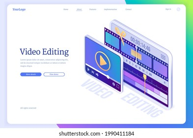Video editing banner. Software for montage movie, application for edit media content and film production. Vector landing page with isometric illustration of digital tablet with video maker app