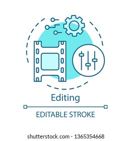 Video editing concept icon. Film post production idea thin line illustration. Video editor. Audio mixer. Visual settings. Film making software. Vector isolated outline drawing. Editable stroke