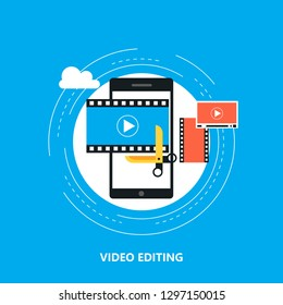 Video editing mobile application, video production, montage flat vector illustration design. Video editing tutorial design for web banners and apps