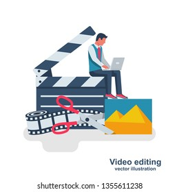 Video editing. Multimedia content. Footage editing. Videographer with a laptop mounts movie. Photo film and scissors. Vector illustration flat design. Isolated on white background. Video blog channel.