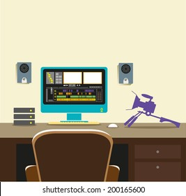 Video Editing Room Concept. Flat Vector eps10