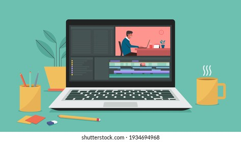 Video editing software on laptop computer. Workplace for freelancer and editor, vlogger or movie making, flat vector illustration