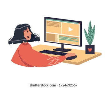 Video editing vector stock illustration. A girl edits a video using a program for mounting on a large monitor. Online video editing training courses. Home training, video blogging, modern profession.
