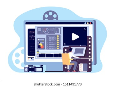 Video editor concept. Multimedia content production and footage editing. Making web page shoot, studio filmmaking vector design