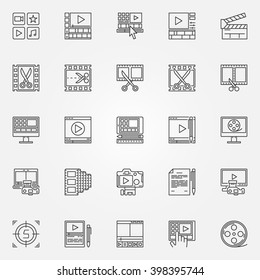 Video editor icons set - video editing signs in thin line style. Minimal movie symbols