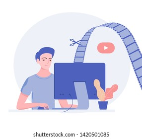 Video editor with monitor. Video editing process. Scissors cut video film. Trendy flat style. Vector illustration.