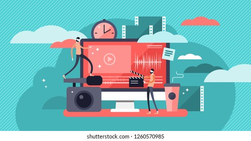 Video editor vector illustration. Flat mini persons concept with camera work and footage editing. Multimedia content production for online video blog channel. Meeting hot news publishing deadlines.