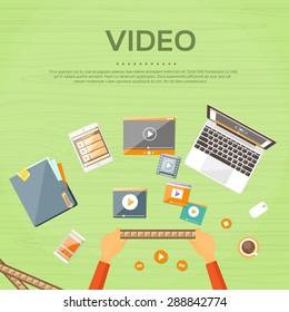 Video Editor Workplace Hands Laptop Player Flat Vector Illustration