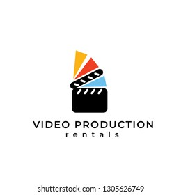 Video equipment vector logo. Video equipment rentals logo. Film shooting emblem.