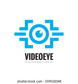 Video eye - vector business logo template concept illustration. Modern & future vision tech creative sign. Security technology and surveillance. Photography icon. Design element.