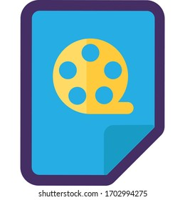Video File Icon, Film Tape Reel Button Design. Flat Vector Illustration of File with Video or Movie File Document Symbol Isolated