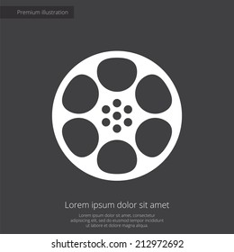 video film premium illustration icon, isolated, white on dark background, with text elements